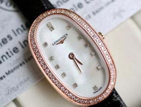 顶级复刻手表浪琴女款白盘黑带圆舞曲系列皮带腕表