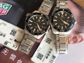 顶级复刻手表泰格豪雅男款黑盘钢带竟潜系列石英腕表