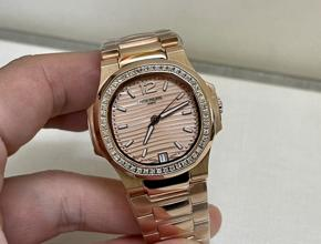 顶级复刻手表百达翡丽 鹦鹉螺 女款真金真钻腕表