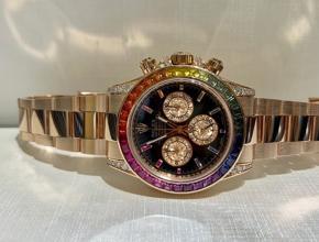顶级复刻手表劳力士男款黑盘真金真钻彩虹迪通拿钢带腕表