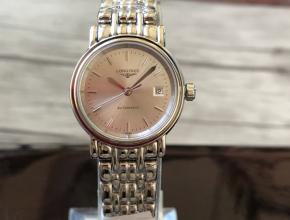顶级复刻手表浪琴女款金盘钢带时尚系列原装机械腕表
