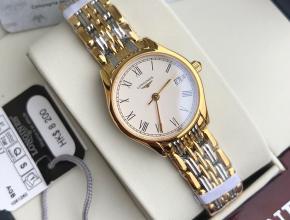 顶级复刻手表浪琴情侣表白盘金带律雅系列石英钢带腕表