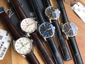 顶级复刻手表泰格豪雅男款黑盘黑带卡莱拉系列石英皮带腕表