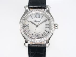 顶级复刻手表萧邦女款白盘黑带Happy Diamonds系列腕表