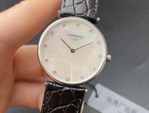 顶级复刻手表浪琴情侣表白盘黑带嘉岚系列石英皮带腕表