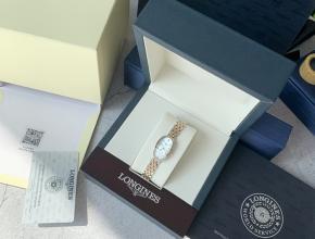 顶级复刻手表浪琴女款白盘间金带真金真钻圆舞曲系列钢带腕表