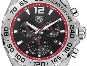 顶级复刻手表泰格豪雅男款黑盘钢带F1系列六针计时石英腕表