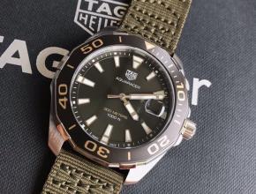 顶级复刻手表泰格豪雅男款绿盘尼龙袋竞潜系列石英表