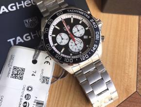 顶级复刻手表泰格豪雅男款黑盘钢带F1系列石英腕表