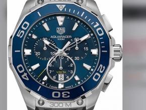 顶级复刻手表泰格豪雅男款蓝盘黑带竟潜系列石英计时腕表