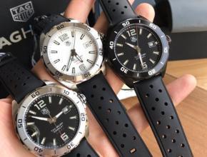 顶级复刻手表泰格豪雅男款白盘黑带F1系列 机械腕表