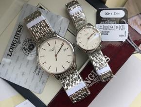 顶级复刻手表浪琴情侣表白盘钢带律雅系列石英腕表