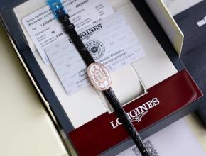 顶级复刻手表浪琴女款白盘黑带圆舞曲系列石英皮带腕表