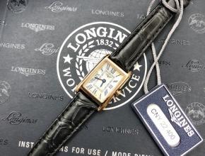 顶级复刻手表浪琴女款白盘黑带黛绰维纳系列皮带腕表