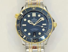 欧米茄男款蓝盘钢带海马300米系列机械手表