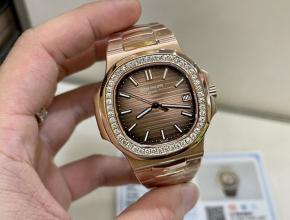 3K厂百达翡丽超a手表女款金盘金带18K玫瑰金南非真钻机械手表