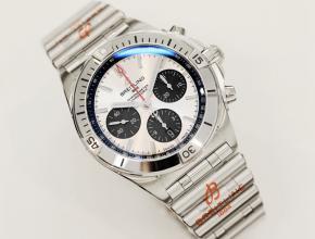 顶级复刻手表百年灵男款白盘钢带机械腕表