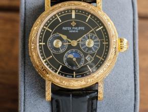 百达翡丽精仿表男款黑盘黑带纯手工-雕花42毫米机械皮带手表
