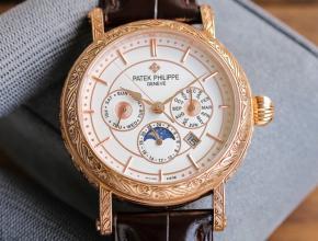 百达翡丽高仿表男款白盘棕带新品42毫米机械皮带纯手工雕花手表