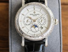 百达翡丽顶级复刻表男款白盘黑带纯手工雕花机械皮带42毫米手表
