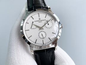 TWS江诗丹顿顶级复刻表男款白盘黑带传袭系列圆形机械皮带手表