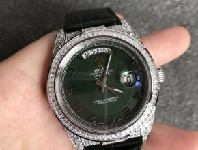 顶级复刻手表劳力士男款绿盘黑带满天星日志型系列全自动机械皮带手表