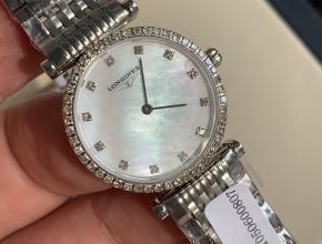 顶级复刻手表浪琴女款白盘钢带休闲时尚女士嘉岚系列石英手表