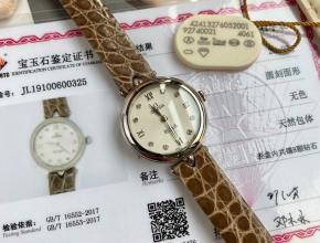 顶级原单手表欧米茄女款白盘棕带蝶飞系列真金真钻石英手表