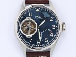 顶级复刻手表万国男款蓝盘棕带小王子飞行员系列陀飞轮腕表