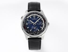 ZF积家复刻表男款蓝盘黑带地理学家Q1428421系列圆盘机械皮带手表