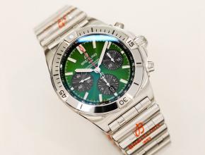 顶级复刻手表百年灵男款绿盘钢自动机械腕表
