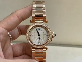 顶级复刻手表卡地亚女款白盘钢带钥匙系列18k玫瑰金手表