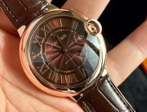 顶级原单手表卡地亚男款棕盘棕带18k玫瑰金蓝气球系列自动机械皮带手表