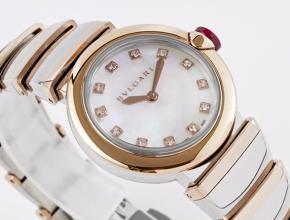 宝格丽女款白盘18K玫瑰金带LVCEA 系列石英手表