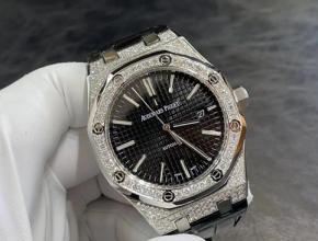 爱彼顶级高仿表女款黑盘黑带真金真钻皮带机械手表
