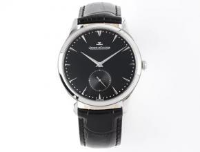 ZF积家顶级复刻表女款黑盘黑带小秒针皮带超薄款大师系列石英手表