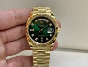 顶级复刻手表劳力士男款绿盘金带日志型南非真钻机械手表