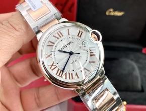 顶级复刻手表卡地亚男款白盘钢带42mm全自动机械蓝气球系列手表