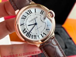 顶级原单手表卡地亚男款白盘棕带18k玫瑰金自动机械皮带42mm蓝气球系列手表