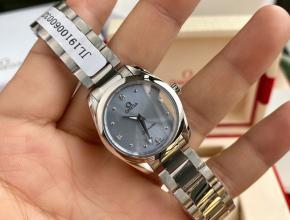 顶级原单手表欧米茄女款蓝盘钢带海马系列真金真钻石英手表