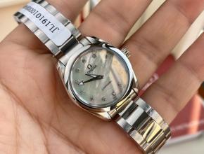 顶级原单手表欧米茄女款蓝盘钢带石英海马系列真金真钻手表