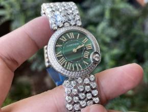 顶级复刻手表卡地亚女款绿盘钢带石英蓝气球系列手表