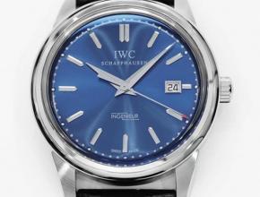 顶级复刻手表万国男款蓝盘黑带 自动机械皮带腕表