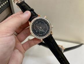 百达翡丽顶级高仿表女款黑盘黑带18K玫瑰真金真钻皮带手表