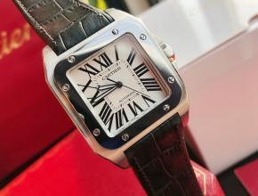 顶级复刻手表卡地亚男款白盘黑带全自动机械皮带手表