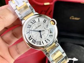 顶级复刻手表卡地亚男款白盘间金带42mm自动机械蓝气球系列手表