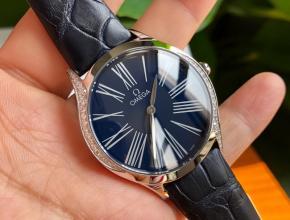 顶级原单手表欧米茄女款蓝盘蓝带真金真钻蝶飞系列石英皮带手表