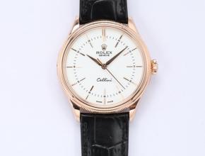 顶级高仿手表劳力士男款白盘黑带自动机械皮带切利尼系列手表