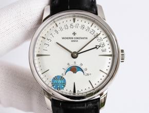 顶级复刻手表江诗丹顿男款白盘黑带传承系列自动机械腕表