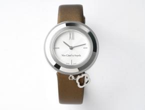 梵克雅宝女款白盘棕带Charms Gold系列石英皮带手表